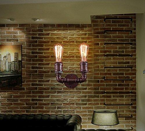 SJUN Americano Retrò Muro Village Hall Eoliche Industriali Personalità Creativa Decorativa Lampada Da (Antico Brown Parete Specchio)