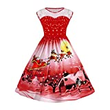 JUTOO Frauen Weihnachten Print Lace Pin Up Swing Lace Party Panel Plus Size Kleid(Y2-rot,XXXXX-Large)