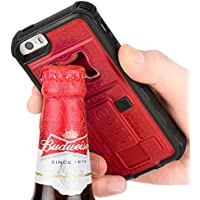 ZVE multifunzione con accendisigari & Bottle Opener birra Cover per IPhone 5/5S, Silicone, rosso, Iphone 5 5s