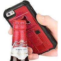ZVE multifunzione con accendisigari & Bottle Opener birra Cover per IPhone 5/5S, Silicone, rosso, Iphone 5 5s
