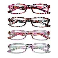 KOOSUFA leesbril dames bloemen kwaliteit rechthoekige anti-vermoeidheid bril leeshulp retro designer mode volledige randbril met dikte 1.0 1.5 2.0 2.5 3.0 3.5 4.0