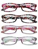 KOOSUFA Lesebrille Damen Blumen Qualität Rechteckige Anti Müdigkeit Brille Lesehilfe Sehhilfe Retro Designer Mode Vollrandbrille mit Stärke 1.0 1.5 2.0 2.5 3.0 3.5 4.0 (4 Farben Set, 3.0)