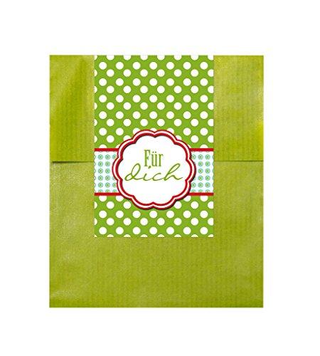 10 Stück grüne Geschenktüten (9,5 x 14 cm) mit Aufkleber Für Dich in grün mit rotem Siegel… ein liebevolles Gastgeschenk oder Mitgebsel (Größe der Tüte offen: 9,5 x 14 cm + Lasche 2 cm)