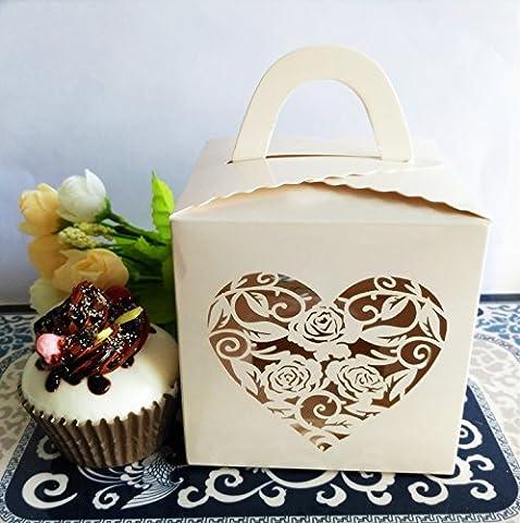 KAZIPA 12Stk Kuchenboxen, Laserschnitt Liebe Single Cupcake Box f¨¹r Hochzeitstorte, Muffins, (Single Cupcake Box)