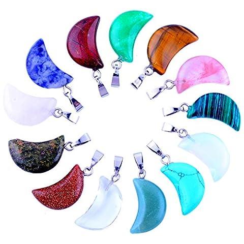 20pcs Small Moon Shape Healing Chakra Beads Crystal Quartz DIY Stone Random Color Gemstone Pendants for Necklace Earring Jewelry