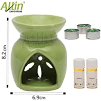 Allin Exporters Ceramic Diffuser(with 2 Jasmine Aroma Oils 4ml each) 3 Tea Light Candle With Holders Combo Pack - Green