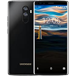 Smartphone 4G, DOOGEE Mix 2 Telephone Portable Debloqué, Écran 6 Pouce 18:9 FHD+, 6Go RAM 64Go ROM, Helio P25 Octa Core, Caméra Arrière 16+13MP, Android 7,1 Double SIM Reconnaissance Faciale - Noir
