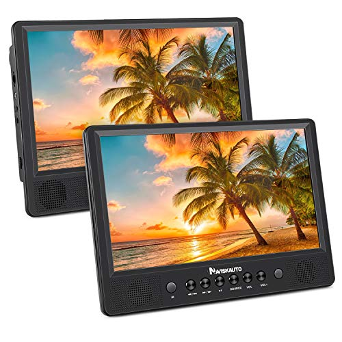 """NAVISKAUTO 10,1\"""" DVD Player Auto 2 Monitore Tragbarer DVD Player mit zusätzlichem Bildschirm Akku Kopfstütze Monitor USB/SD, AV IN/Out"""