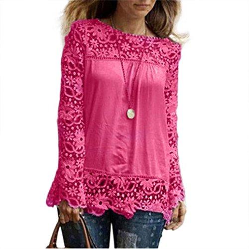 Cloom Damen Blusen mit Spitze Bluseshirt Hemdblusen Damen Mode Frühling Langarmshirts Schöne Oberteile für Damen Spitzenbluse Tops T-Shirt Pullover Sweatshirt Hemd Tüllkleid(Pink,Medium)