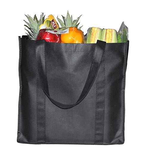 YBCPACK Lot de 6 sacs fourre-tout réutilisables avec poignées, sacs de courses non tissés Capacité : 20 kg - Extra large et durable - sacs de courses pliables (noir, 38,1 x 25,4 x 35,6 cm)