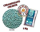 Sabbia Ghiaia Ceramizzato Celeste Blu Bios Fondo per acquari 1 Kg