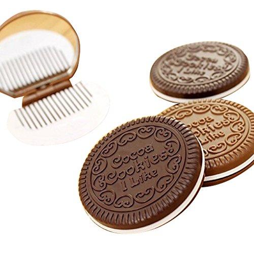 Achat Portable mignon chocolat cookie forme cosmétique maquillage miroir peigne Lady Girl