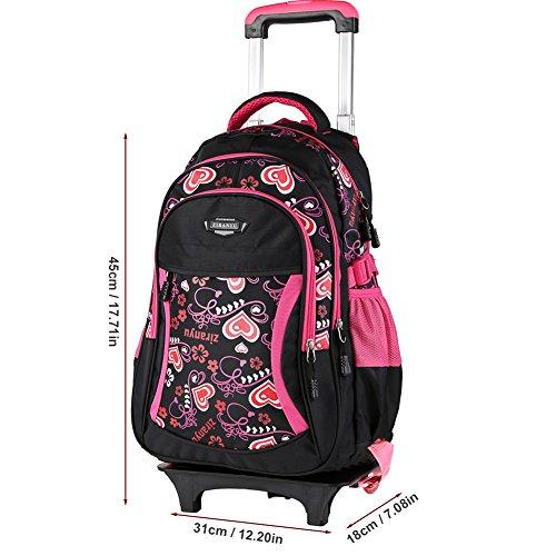 *Nouveau modèle Sac à dos avec roulettes sac d`école à roulettes sac de voyage à roulettes sac de bar étudiant pour garcons filles en nylon multicolore (unique, Noir) Liste de prix