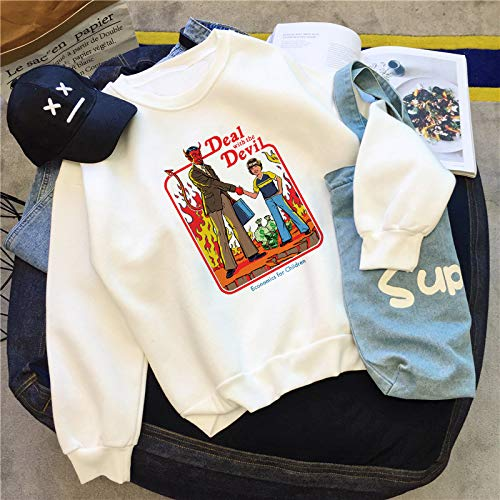 WGYSQCAO Umgang Mit Dem Teufel Print Damenmode Vintage Langarm Devil Pattern Top HarajukuDamen Sweatshirt Devils Damen-sweatshirts