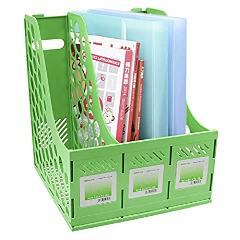 Liying® Sturdy Three Sections Magazine Holder File Rack Storage dispay for Lever Arch Polypropylene Desktop Shelf File Dividers Cabinet Document Tray Holder Organiser Box (Green)