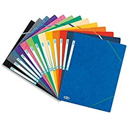 Elba TopFile - Lote de 10 carpetas de cartón (A4, con cierre elástico), varios colores, cartulina satinada
