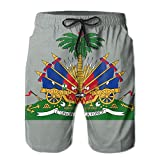LPOVTR Beach Mens Coat of Arms of Haiti Summer Quick Dry Swimwear Casual Cargo Pants