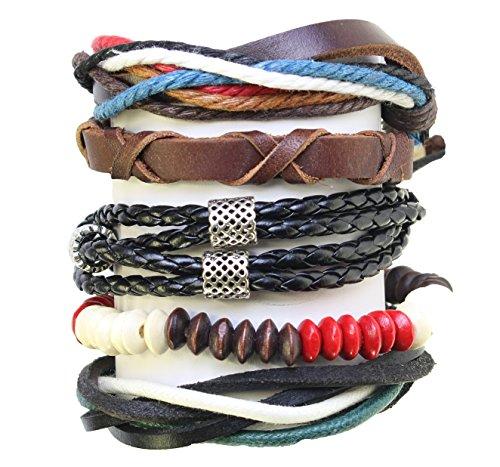 Set di 5 Perle / cavo e pelle surf surfer braccialetti di stile Braccialetti - 259