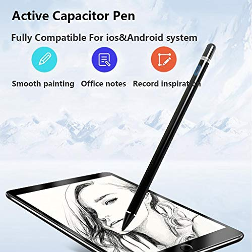Kapazitiver Bleistift Touch Screen Stylus Pen Paint Micro USB Ladegerät Tragbar für iPhone iPad iOS Android Phone Windows System Tablet Schwarz - Tragbares Windows Ladegerät Phone