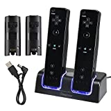 Eforcity Dual Charging Station w/ 2 Rechargeable Batteries & LED Light for Wii Remote Control, Black