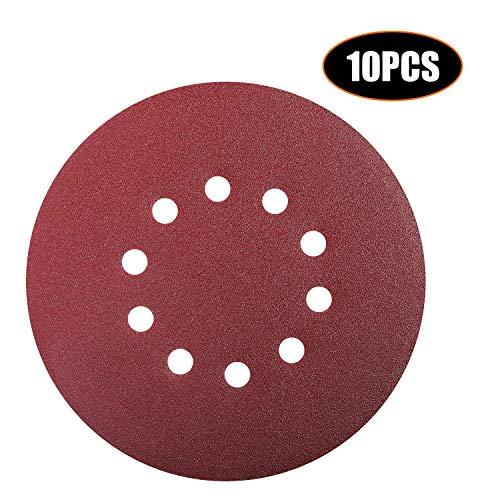 Dischi Abrasivi, Tacklife 10 Pezzi 225 mm Dischi Carta Abrasiva Velcro per Levigatrice a Muro, 10 Fori, Grana 120 per Levigatura, Lucidatura ASD5A
