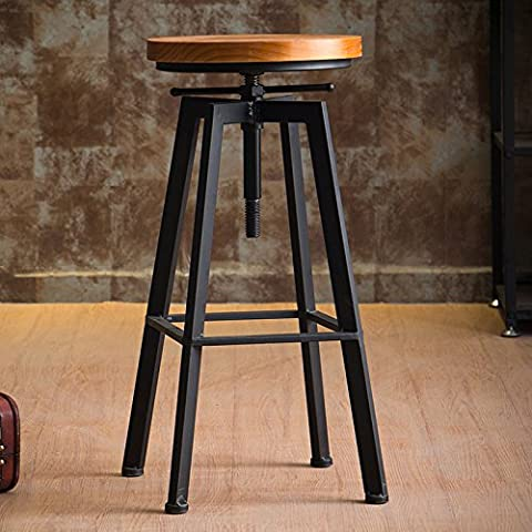 LZL The iron bar chair stool industrial wind rotary household lift bar stool bar stool high wood chair,Solid wood panel 3cm (no back) black