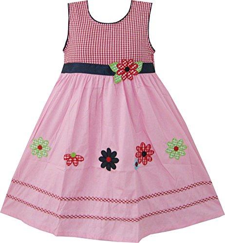 Mädchen Kleid Rosa Schottenkaro Bestickte Blume Gr.110