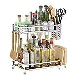 Küchenregale Liuyu 304 Edelstahl-Abfluss-Messer-Halter-Spachtel-Schneidebrett-Multifunktionsboden-stehender Haushalts-Speicher 34cm * 20cm * 34.5cm