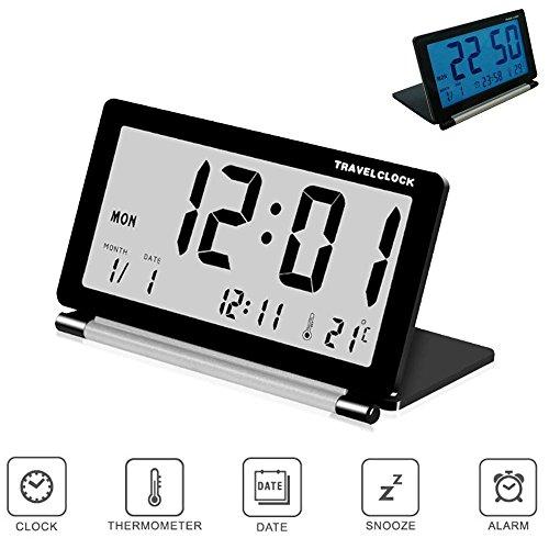 Pawaca Reisewecker, Großem LCD Klapp Wecker Digital-Wecker mit Schlummerfunktion, Hintergrundbeleuchtung, Temperatur- und Datumsanzeige