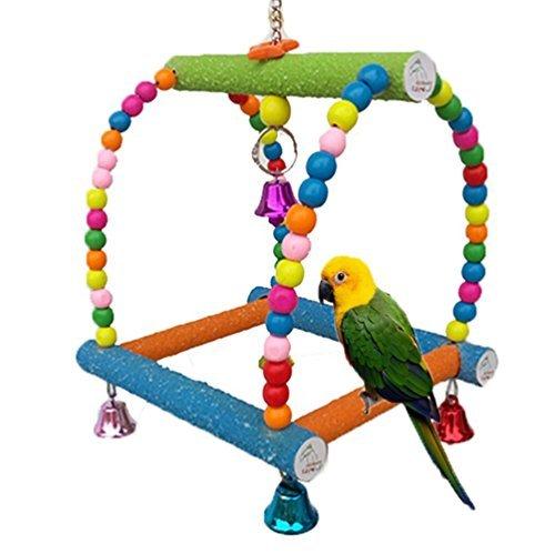 Colorful Schaukel aus Holz Vogel Spielzeug für Parrot Aras African Greys Wellensittiche Kakadus Sittiche Nymphensittiche Lovebirds Finch Käfig Sitzstange Toy Paw Schleifstifte Leiter (Vogel Käfige Finch)