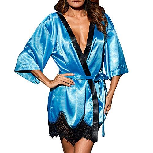 Lonshell_Damen Schlafanzüge mit Spitze Satin Robe Morgenmantel Kimono Bademantel Sexy Schlafmantel Nachthemd mit Gürte und G-String Saunamantel Schlafanzüge Pajama Negligee (Satin-robe Disney)