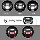 USB Rechargeable LED Head Torch, Super Bright / Waterproof Headlamp with Red Light, Dimmable Headlight, 5 Modes,USB Cable Included, Hands Free LED Headlamps for Running, Walking, Camping, Hiking, Fishing