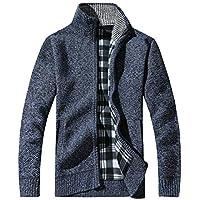 Bestow Hombres Que Hacen Punto Collar de algodón suéter Grueso Cremallera Soporte Chaqueta de Abrigo Gruesa de Invierno cálido