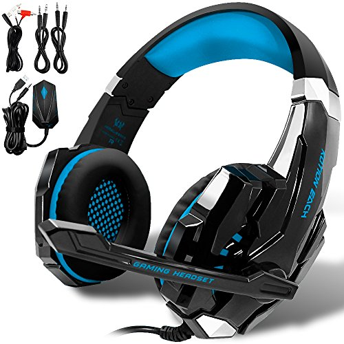 KOTION EACH GS900 Gaming Headset für die Xbox 360 One PS3 PS4 PC Computer-Laptop-Mobiltelefone, AFUNTA Multi-Funktions-Over Ear Playstation 4 7.1 umgeben Kopfhörer mit Mikrofon 3,5 mm Klinke Revolution Volume Control Noise Canceling - Schwarz + Blau