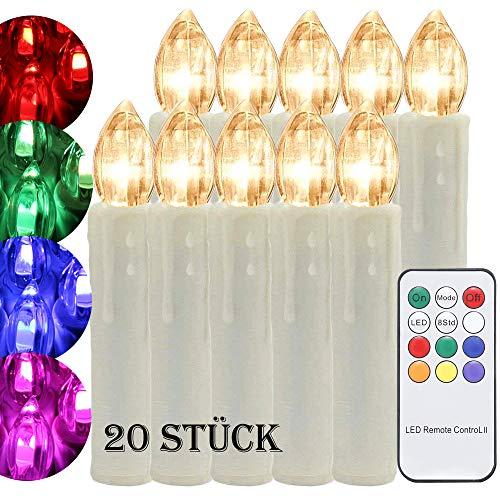 20 er Set LED Weihnachtskerzen Kerzen RGB Weihnachtsbaumkerzen kabellos für Weihnachtsdeko Wasserdichte Lichterkette Warmweiß Weihnachtskerze für Innen und Außen
