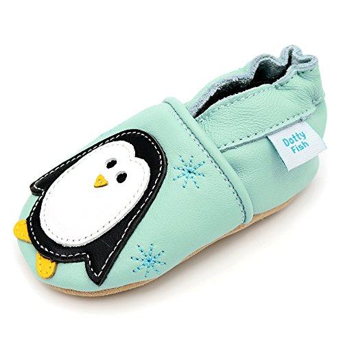 Dotty Fish - Chaussures cuir souple bébé et bambin - Garçons et Filles - Noël Pingouin bleu