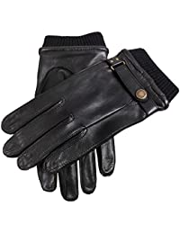 Black Strap and Roller Leather Gloves by Dents