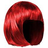 Shenky - Parrucca donna - ideale per Carnevale - taglio corto/bob - Rosso