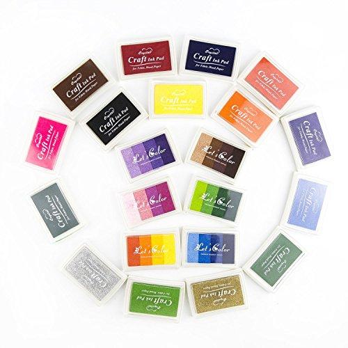 Yalulu Craft Tampon encreur, 21Couleurs Tampon encreur de Lot, enfants, bricolage, Rainbow, Finger Print, lavable