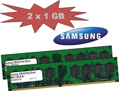 Samsung Lot de 2 barrettes de RAM DDR2-667 non ECC, sans tampon, 667Mhz, PC2-5300U, CL5, 2x 1 Go pour cartes mères DDR2