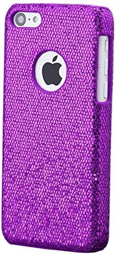 iCues Apple iPhone 5C |  Glitzer Case Rot | [Display Schutzfolie Inklusive] Strass Glitzer Glitter Luxus Bling Damen Frauen Mädchen Schutzhülle Hülle Cover Schutz Lila