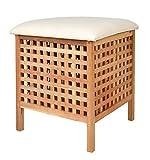 ts-ideen Badhocker mit Sitzkissen Sauna Badezimmer Sitz Wäschekorb aus Walnuss