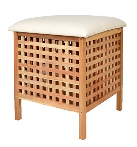 ts-ideen Cesta para la ropa taburete con cojín asiento de madera de nogal para baño pasillo sauna color marrón natural