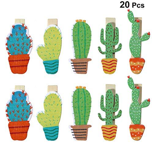 BESTOYARD 20 stücke Kaktus Foto Clips Multifunktionswäscheklammern Holznägel Foto Clips Pins Hinweis Memo Kartenhalter Für Hawaiian Luau Geburtstag Hochzeit Dekorationen