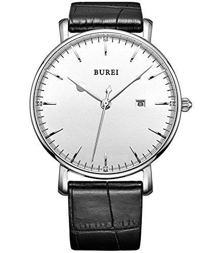 Burei Unisexe montre quartz Ultra Fine, classique et minimaliste design, montre analogique avec bracelet en cuir de vachette