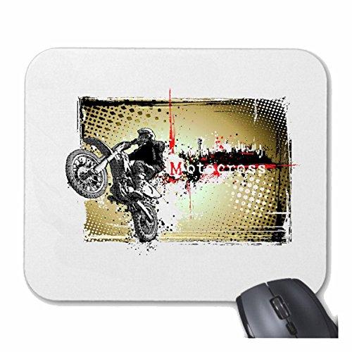 "Mousepad (Mauspad) \""MOTOCROSS EXTREM SPORT MOTOCROSS OUTDOOR MOTOCROSS BIKE CROSSBIKE FREESTYLE\"" für ihren Laptop, Notebook oder Internet PC .. (mit Windows Linux usw.) in Weiß"