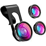 Victsing 3 In 1 Clip-On Lens Kit For Mobile Carmera ,180 Degree Fisheye 10X Macro 0.65X Wide Angle Lens