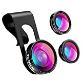 #5: Mpow Victsing 3 In 1 Clip-On Lens Kit For Mobile Carmera ,180 Degree Fisheye Lens,10X Macro Lens, 0.65X Wide Angle Lens