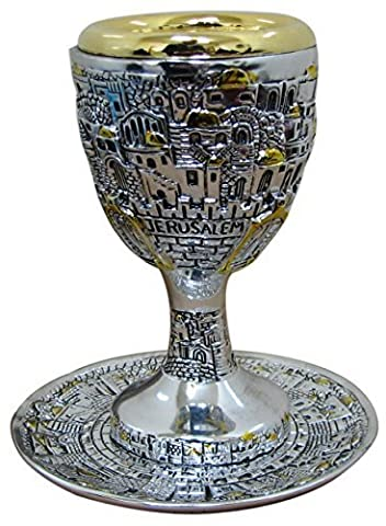 Electroforming Silver Plated Jerusalem Design Kiddush Cup and Matching Tray