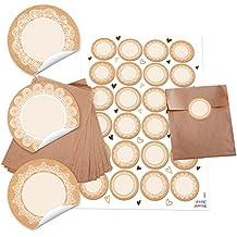 24Kleine marrón bolsas de papel 13x 18cm + 24redondas en blanco Adhesivo 4cm papel de estraza Punta Vintage Blanco Beige del paquete Tarjetas de mesa Bolsa de Regalo Bolsa + etiquetas
